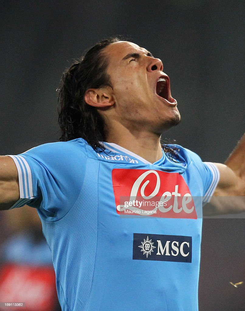 Edinson Cavani of Napoli celebrates during the Serie A match between SSC Napoli and AS Roma at Stadio San Paolo on January 6, 2013 in Naples, Italy.