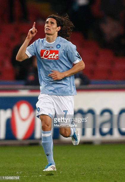 Edinson Cavani of Napoli celebrates his goal during the Serie A match between SSC Napoli and Cagliari Calcio at Stadio San Paolo on March 20 2011 in...