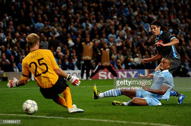 Edinson Cavani of Napoli scores the opening goal during the UEFA Champions League Group A match between Manchester City and SSC Napoli at the Etihad...