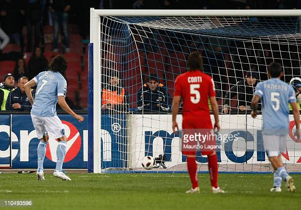 Edinson Cavani of Napoli scores the opening goal from a penalty during the Serie A match between SSC Napoli and Cagliari Calcio at Stadio San Paolo...