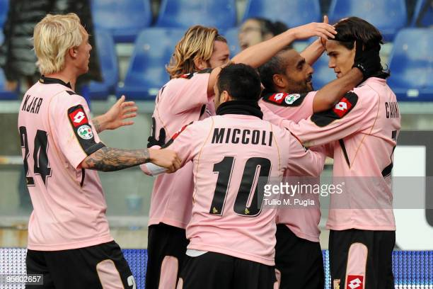 Edinson Cavani of Palermo and his team mates celebrate the opening goal during the Serie A match between UC Sampdoria and US Citta di Palermo at...