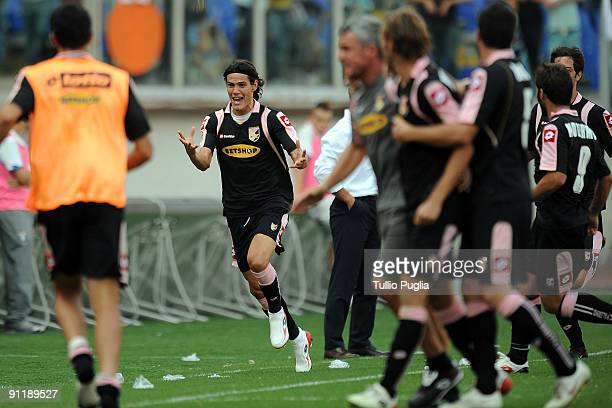 Edinson Cavani of Palermo celebrates scoring a goal during the Serie A match between Lazio and Palermo at Stadio Olimpico on September 27 2009 in...