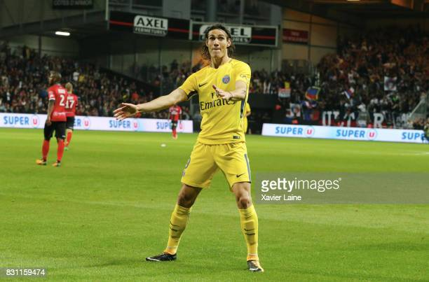 Edinson Cavani of Paris SaintGermain celebrate his goal during the French Ligue 1 match between EA Guingamp and Paris Saint Germain at Stade du...