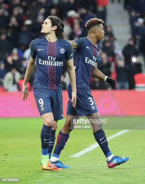 Edinson Cavani of Paris SaintGermain celebrate his goal during with Presnel Kimpembe the French Ligue 1 match between Paris SaintGermain and AS...