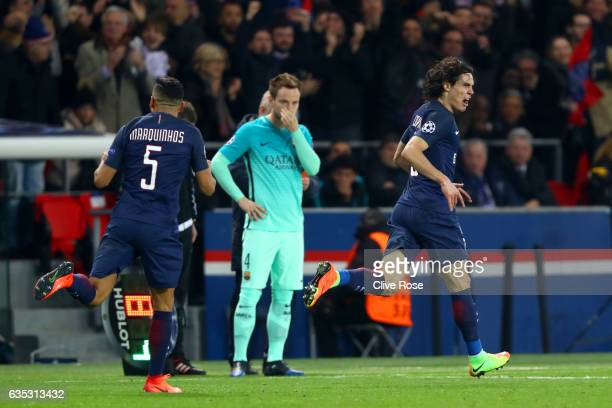 Edinson Cavani of Paris SaintGermain celebrates after scoring his team's fourth goal during the UEFA Champions League Round of 16 first leg match...