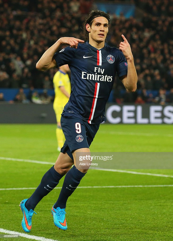 <a gi-track='captionPersonalityLinkClicked' href=/galleries/search?phrase=Edinson+Cavani&family=editorial&specificpeople=4104253 ng-click='$event.stopPropagation()'>Edinson Cavani</a> of Paris Saint-Germain celebrates as he scores their first and equalising goal during the UEFA Champions League Round of 16 match between Paris Saint-Germain and Chelsea at Parc des Princes on February 17, 2015 in Paris, France.