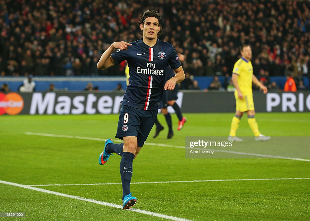 Edinson Cavani of Paris Saint-Germain celebrates as he scores their first and equalising goal during the UEFA Champions League Round of 16 match between Paris Saint-Germain and Chelsea at Parc des Princes on February 17, 2015 in Paris, France.