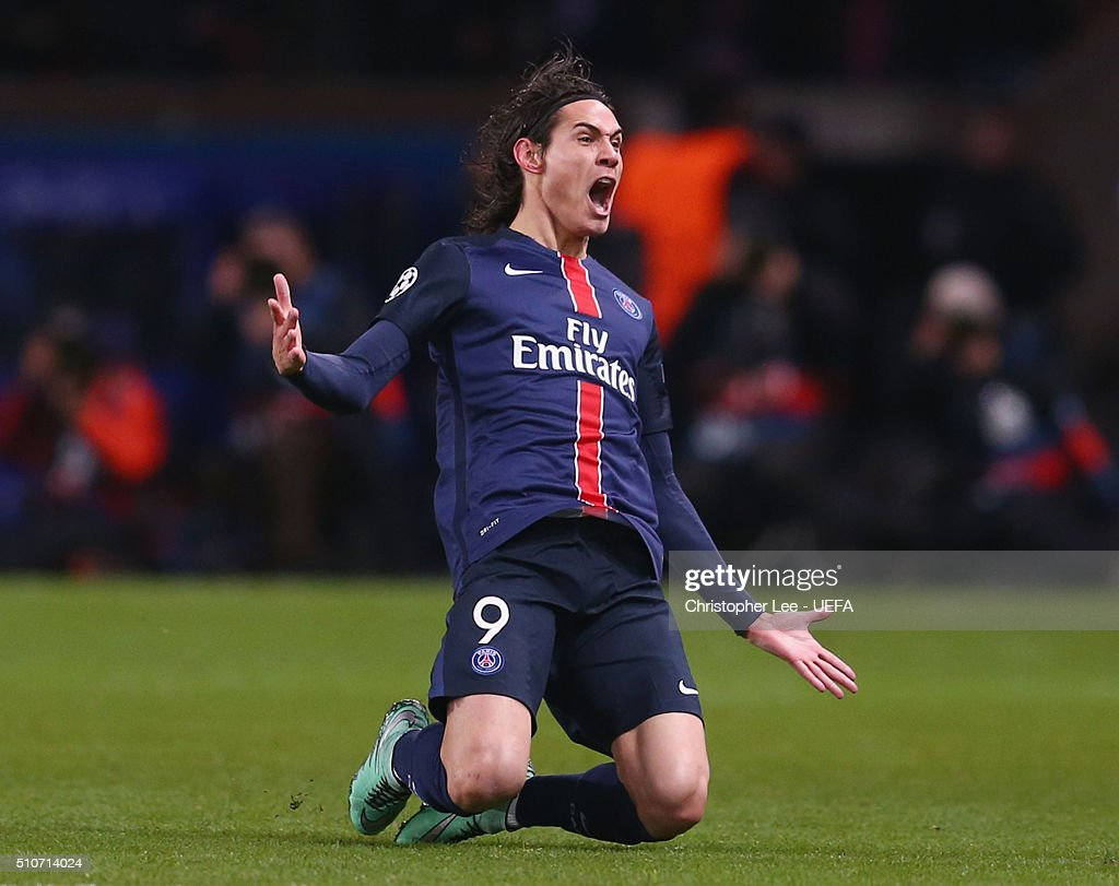 Edinson Cavani of Paris Saint-Germain celebrates as he scores their second goal during the UEFA Champions League round of 16 first leg match between Paris Saint-Germain and Chelsea at Parc des Princes on February 16, 2016 in Paris, France.