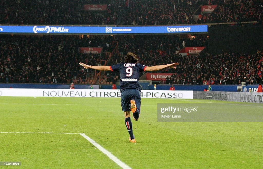 <a gi-track='captionPersonalityLinkClicked' href=/galleries/search?phrase=Edinson+Cavani&family=editorial&specificpeople=4104253 ng-click='$event.stopPropagation()'>Edinson Cavani</a> of Paris Saint-Germain celebrates his goal during the French Ligue 1 between Paris Saint-Germain FC and Olympique Lyonnais at Parc Des Princes on December 1, 2013 in Paris, France.