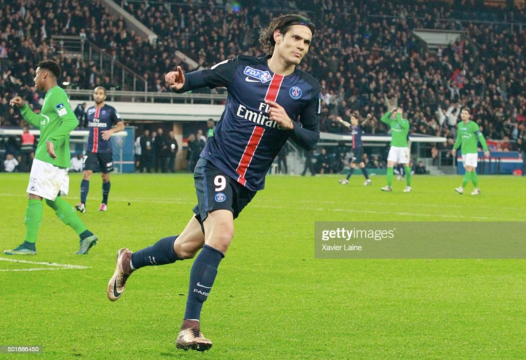 Edinson Cavani of Paris Saint-Germain celebrates his goal during the French League Cup between Paris Saint-Germain and AS Saint Etienne at Parc Des Princes on december 16, 2015 in Paris, France.
