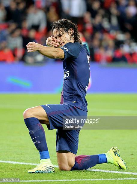 Edinson Cavani of Paris SaintGermain celebrates his goal during the French Ligue 1 match between Paris SaintGermain and Dijon FCO at Parc des Princes...