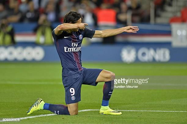 Edinson Cavani of Paris SaintGermain celebrates his goal during the Ligue 1 match between Paris SaintGermain and Dijon FCO at Parc des Princes on...