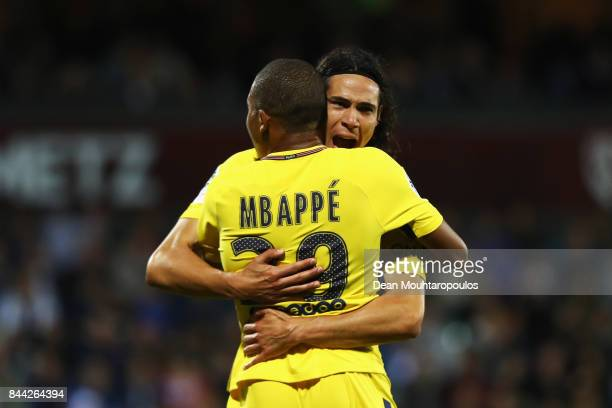 Edinson Cavani of Paris SaintGermain Football Club or PSG celebrates scoring the first goal of the game with Kylian Mbappe during the Ligue 1 match...