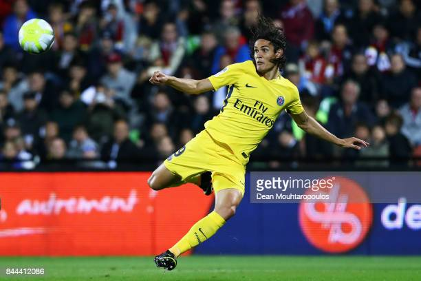 Edinson Cavani of Paris SaintGermain Football Club or PSG shoots on goal during the Ligue 1 match between Metz and Paris Saint Germain or PSG held at...