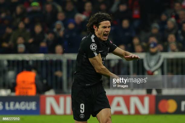 Edinson Cavani of Paris SaintGermain gestures during the UEFA Champions League group B match between Bayern Muenchen and Paris SaintGermain at...