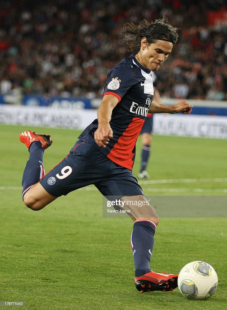 <a gi-track='captionPersonalityLinkClicked' href=/galleries/search?phrase=Edinson+Cavani&family=editorial&specificpeople=4104253 ng-click='$event.stopPropagation()'>Edinson Cavani</a> of Paris Saint-Germain in action during the French League 1 between Paris Saint-Germain FC and AC Ajaccio, at Parc des Princes on August 18, 2013 in Paris, France.