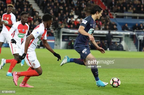 Edinson Cavani of Paris SaintGermain in action during the French Cup SemiFinal match between Paris SaintGermain and As Monaco at Parc des Princes on...