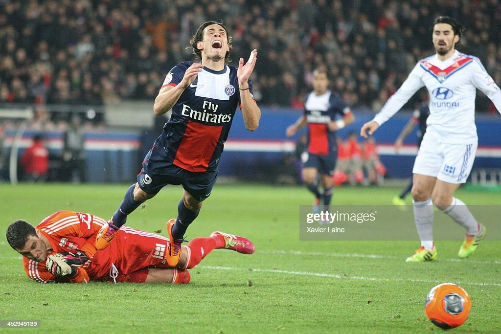 <a gi-track='captionPersonalityLinkClicked' href=/galleries/search?phrase=Edinson+Cavani&family=editorial&specificpeople=4104253 ng-click='$event.stopPropagation()'>Edinson Cavani</a> of Paris Saint-Germain is tackle by <a gi-track='captionPersonalityLinkClicked' href=/galleries/search?phrase=Remy+Vercoutre&family=editorial&specificpeople=684756 ng-click='$event.stopPropagation()'>Remy Vercoutre</a> of Olympique Lyonnais during the French Ligue 1 between Paris Saint-Germain FC and Olympique Lyonnais at Parc Des Princes on December 1, 2013 in Paris, France.