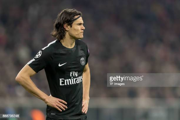 Edinson Cavani of Paris SaintGermain looks on during the UEFA Champions League group B match between Bayern Muenchen and Paris SaintGermain at...
