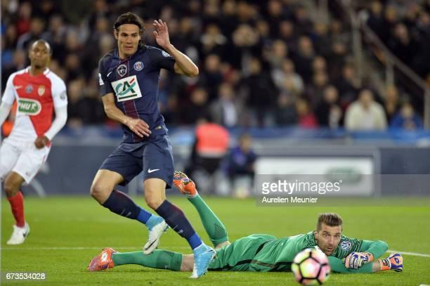 Edinson Cavani of Paris SaintGermain misses a goal during the French Cup SemiFinal match between Paris SaintGermain and As Monaco at Parc des Princes...
