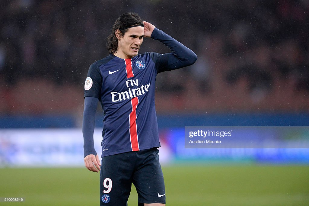 <a gi-track='captionPersonalityLinkClicked' href=/galleries/search?phrase=Edinson+Cavani&family=editorial&specificpeople=4104253 ng-click='$event.stopPropagation()'>Edinson Cavani</a> of Paris Saint-Germain reacts during the Ligue 1 game between Paris Saint-Germain and Lille OSC at Parc des Princes on February 13, 2016 in Paris, France.
