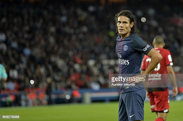 Edinson Cavani of Paris SaintGermain reacts during the Ligue 1 match between Paris SaintGermain and Dijon FCO at Parc des Princes on September 20...