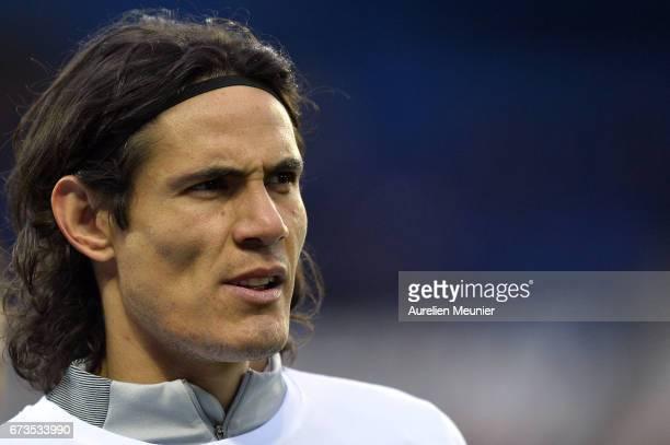 Edinson Cavani of Paris SaintGermain reacts during warmup before the French Cup SemiFinal match between Paris SaintGermain and As Monaco at Parc des...