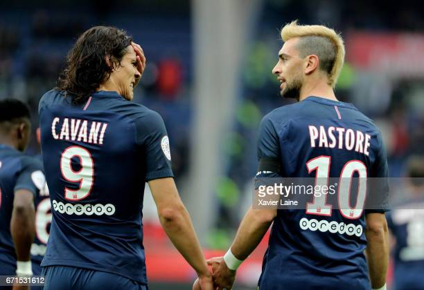 Edinson Cavani of Paris SaintGermain reacts to his goal with Javier Pastore during the French Ligue 1 match between Paris Saint Germain and...