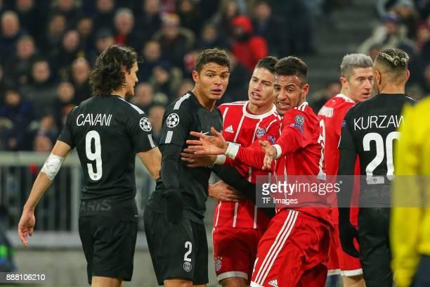 Edinson Cavani of Paris SaintGermain Thiago Silva of Paris SaintGermain James Rodriguez of Bayern Muenchen and Corentin Tolisso of Bayern Muenchen...