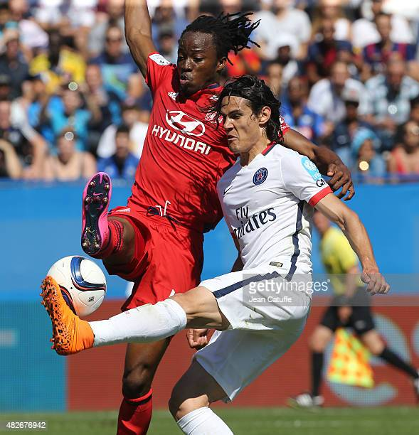 Edinson Cavani of PSG and Bakary Kone of Lyon in action during the 2015 Trophee des Champions between Paris SaintGermain and Olympique Lyonnais at...