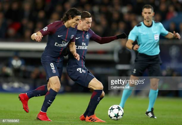 Edinson Cavani of PSG and Julian Draxler of PSG battle for possession during the UEFA Champions League group B match between Paris SaintGermain and...