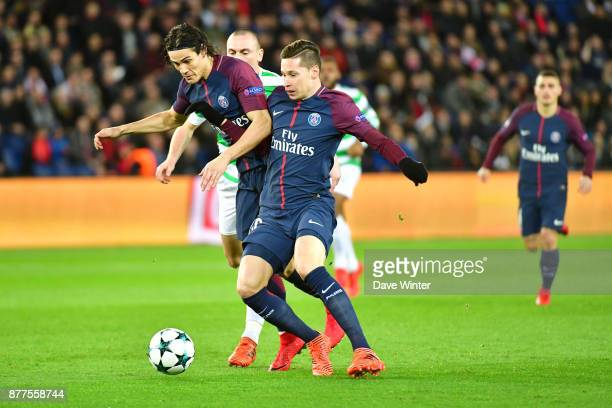 Edinson Cavani of PSG and Julian Draxler of PSG collide going for the same ball during the UEFA Champions League match between Paris Saint Germain...