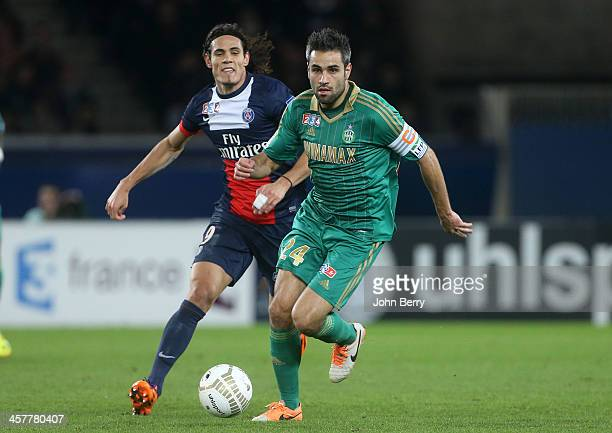 Edinson Cavani of PSG and Loic Perrin of SaintEtienne in action during the french Ligue Cup match between Paris SaintGermain FC and AS SaintEtienne...
