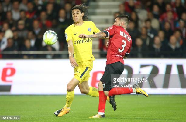 Edinson Cavani of PSG and Pedro Rebocho of Guingamp during the French Ligue 1 match between En Avant Guingamp and Paris Saint Germain at Stade de...