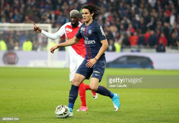 Edinson Cavani of PSG and Tiemoue Bakayoko of Monaco during the French League Cup final between Paris SaintGermain and AS Monaco at Parc OL on April...