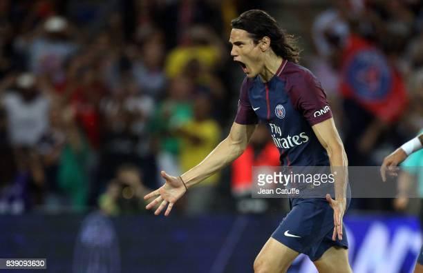 Edinson Cavani of PSG celebrates his first goal during the French Ligue 1 match between Paris Saint Germain and AS SaintEtienne at Parc des Princes...