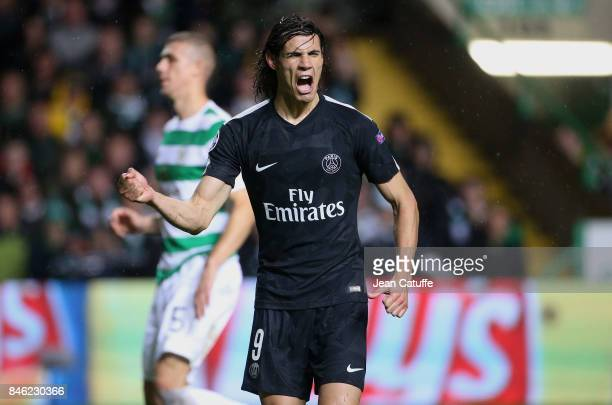 Edinson Cavani of PSG celebrates his first goal from the penalty spot during the UEFA Champions League match between Celtic Glasgow and Paris Saint...