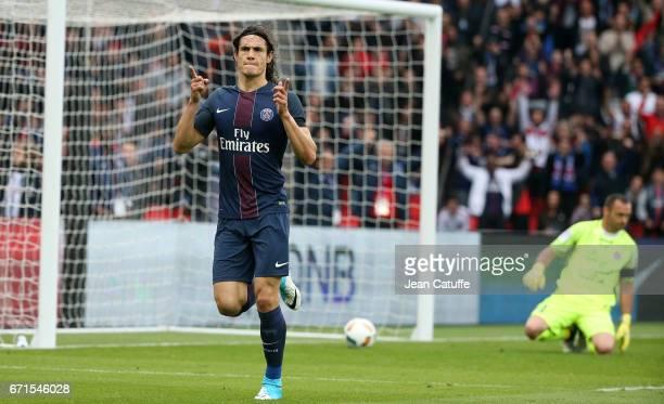 Edinson Cavani of PSG celebrates his goal during the French Ligue 1 match between Paris SaintGermain and Montpellier HSC at Parc des Princes stadium...