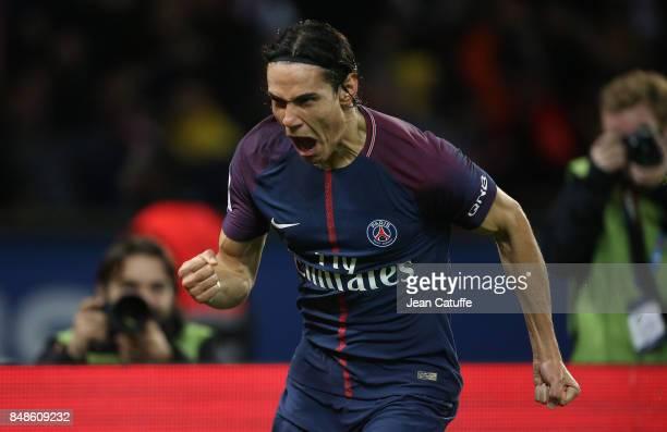 Edinson Cavani of PSG celebrates his goal during the French Ligue 1 match between Paris Saint Germain and Olympique Lyonnais at Parc des Princes on...