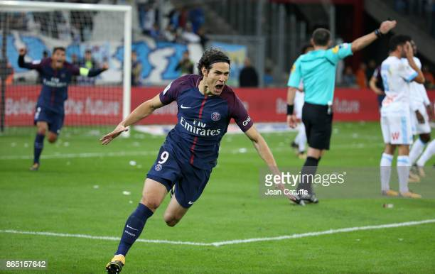 Edinson Cavani of PSG celebrates his goal tying the game at the last minute during the French Ligue 1 match between Olympique de Marseille and Paris...