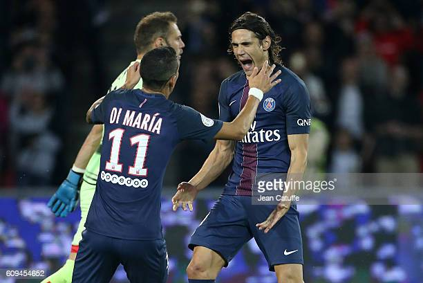 Edinson Cavani of PSG celebrates his goal with Angel Di Maria during the French Ligue 1 football match between Paris SaintGermain and Dijon FCO at...
