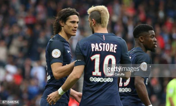 Edinson Cavani of PSG celebrates his goal with Javier Pastore during the French Ligue 1 match between Paris SaintGermain and Montpellier HSC at Parc...