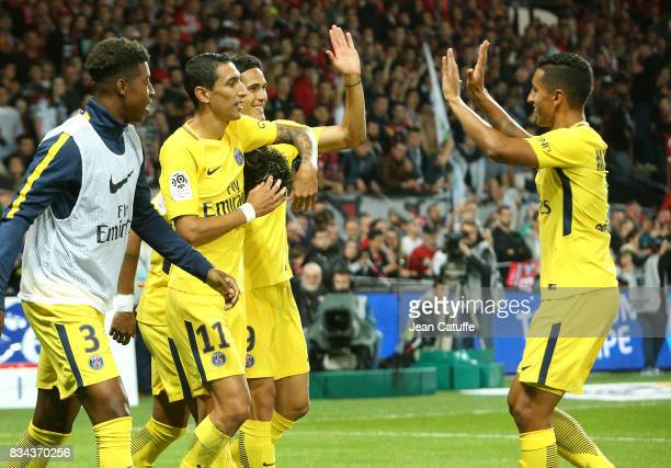 Edinson Cavani of PSG celebrates his goal with Presnel Kimpembe Angel Di Maria Marquinhos during the French Ligue 1 match between En Avant Guingamp...