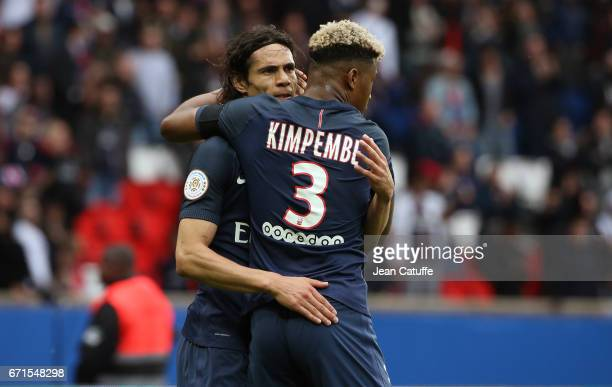 Edinson Cavani of PSG celebrates his goal with Presnel Kimpembe during the French Ligue 1 match between Paris SaintGermain and Montpellier HSC at...