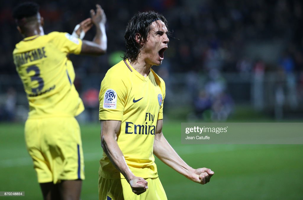 Edinson Cavani of PSG celebrates his second goal during the French Ligue 1 match between Angers SCO and Paris Saint Germain (PSG) at Stade Raymond Kopa on November 4, 2017 in Angers, France.