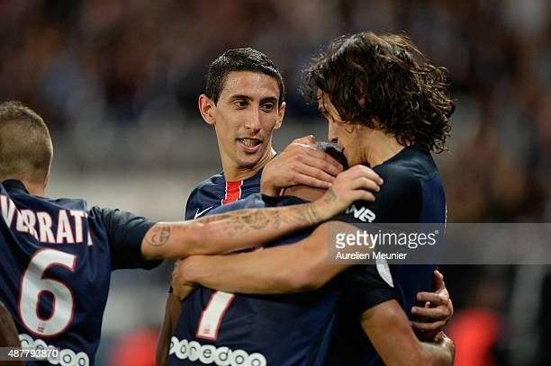 Edinson Cavani of PSG celebrates his second goal of the night with Angel Di Maria during the Ligue 1 game between Paris Saint Germain and Girondins...