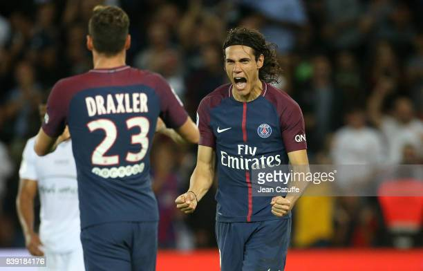 Edinson Cavani of PSG celebrates his second goal with Julian Draxler during the French Ligue 1 match between Paris Saint Germain and AS SaintEtienne...
