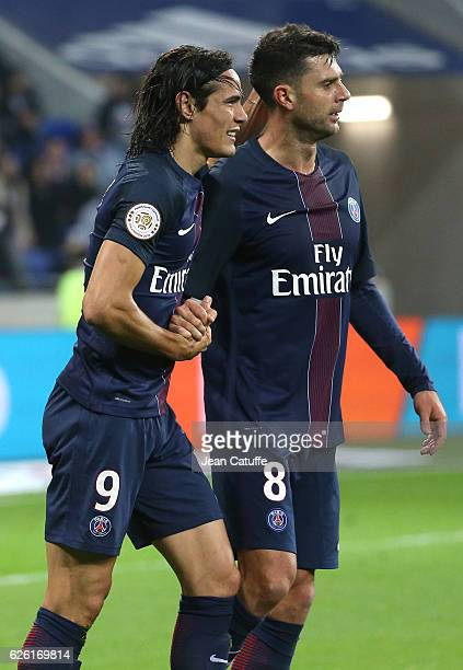 Edinson Cavani of PSG celebrates his second goal with Thiago Motta during the French Ligue 1 match between Olympique Lyonnais and Paris SaintGermain...