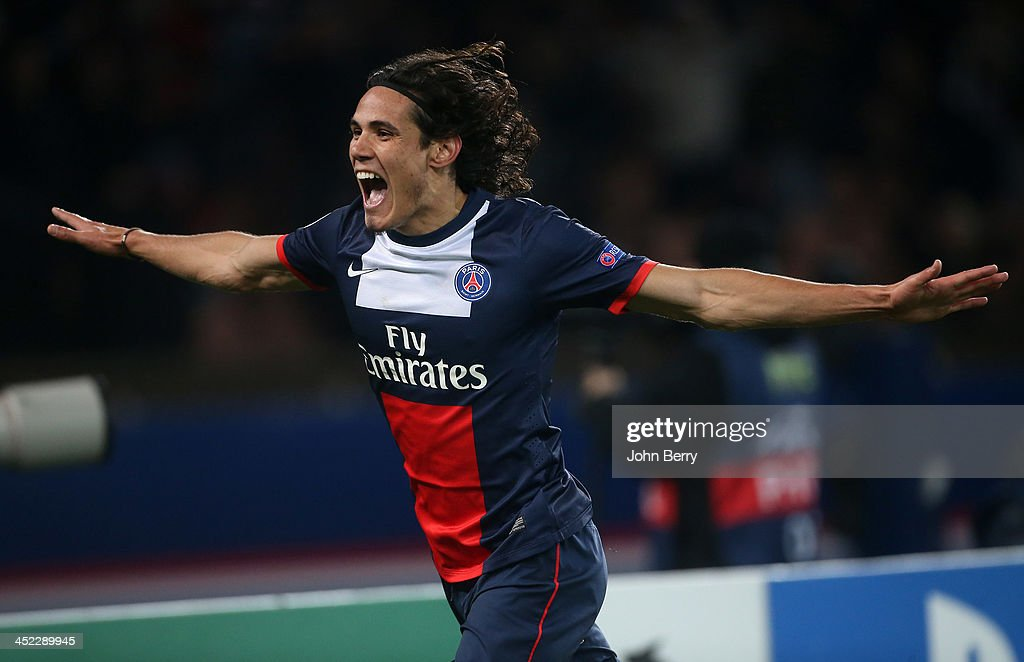 <a gi-track='captionPersonalityLinkClicked' href=/galleries/search?phrase=Edinson+Cavani&family=editorial&specificpeople=4104253 ng-click='$event.stopPropagation()'>Edinson Cavani</a> of PSG celebrates his winning goal during the UEFA Champions League Group C match between Paris Saint-Germain FC and Olympiacos FC at the Parc des Princes stadium on November 27, 2013 in Paris, France.