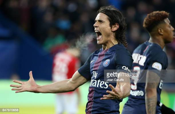 Edinson Cavani of PSG celebrates his winning goal on a penalty kick during the French Ligue 1 match between Paris Saint Germain and AS Nancy Lorraine...